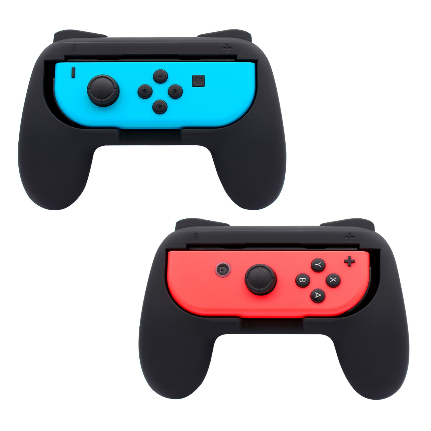 FASTSNAIL Grips for Nintendo Switch Joy-Con, Wear-resistant Handle Kit for Switch Joy Cons Controller, 2 Pack (Black) by FASTSNAIL (Image #1)