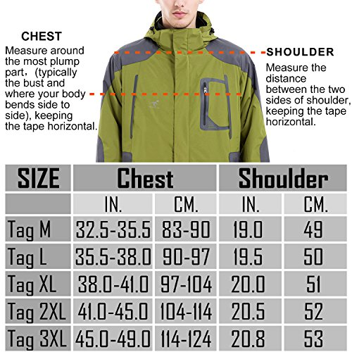 Removable Jackets 5 Outdoor SEEU Colours with Proof Waterproof Rain 1 3 Sizes in Fleece Mens Jacket Hood Orange Jacket 6 Waterproof xPqgpF
