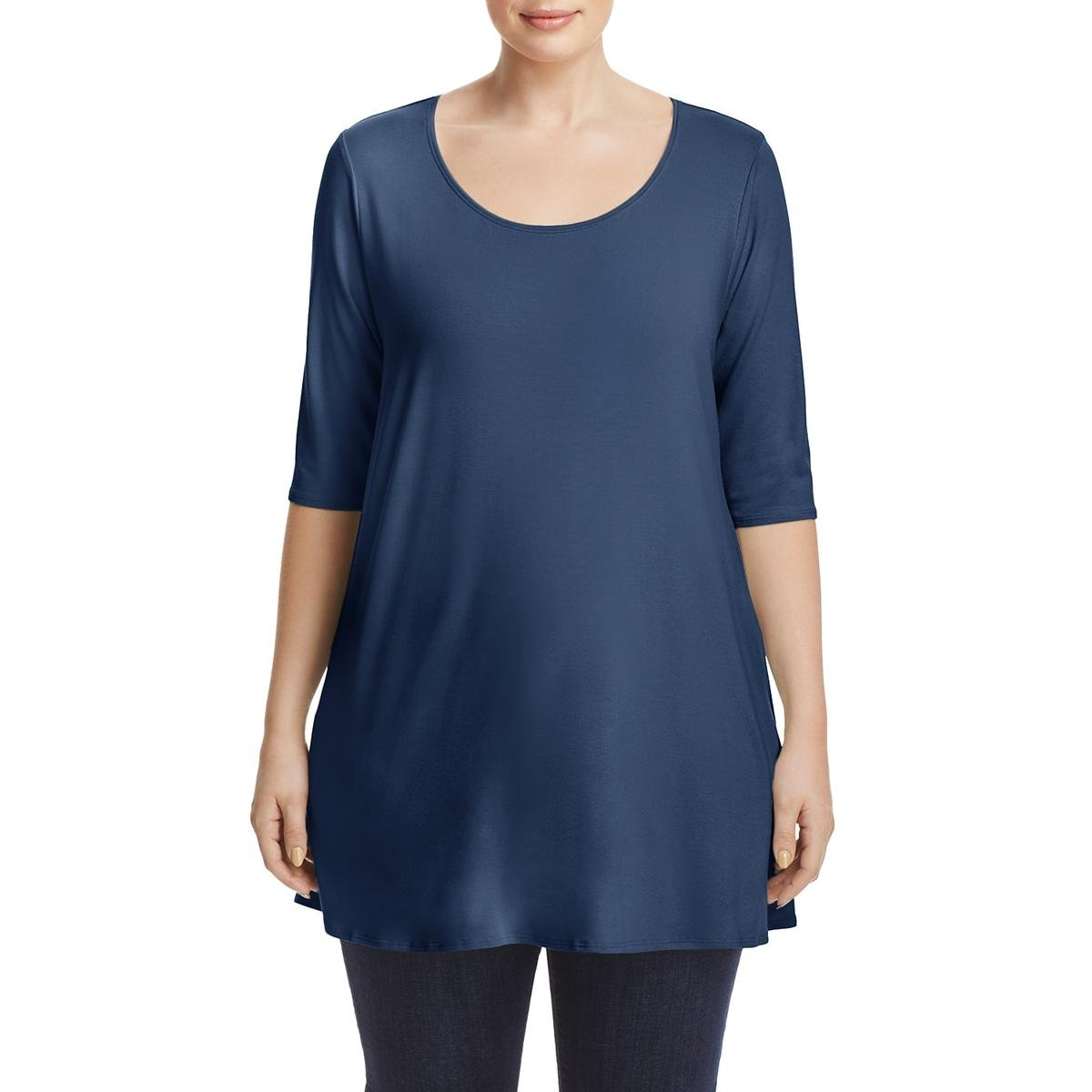 Eileen Fisher Womens Plus Elbow Sleeves Scoop Neck Tunic Top Blue 1X