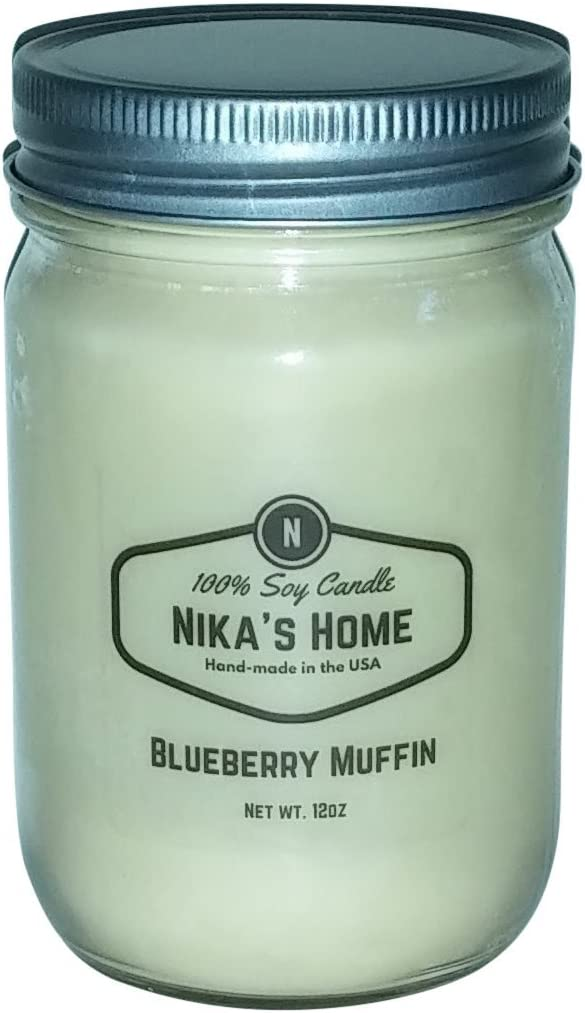 Nika's Home Blueberry Muffin Soy Candle - 12oz Mason Jar