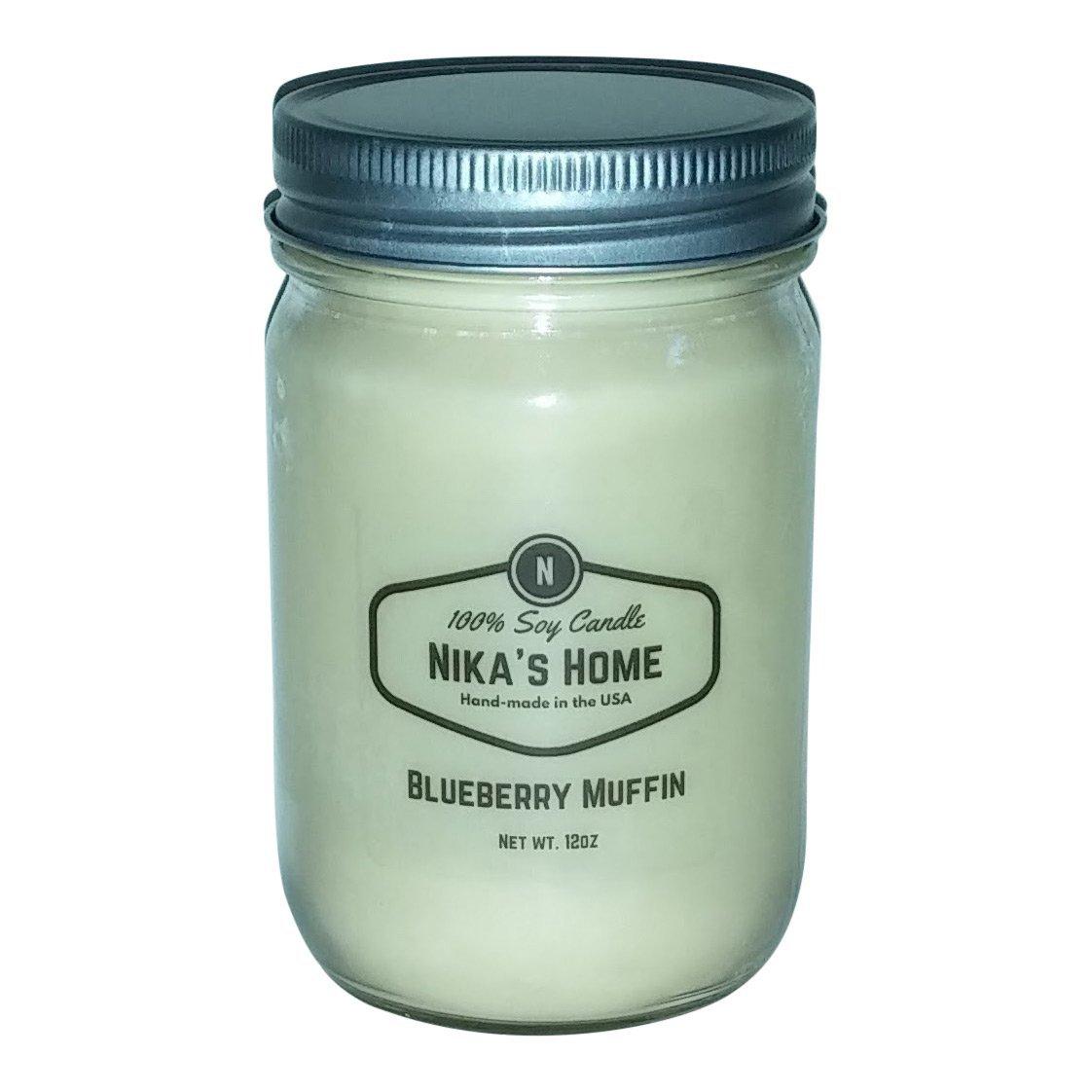 Nika's Home Blueberry Muffin Soy Candle - 12oz Mason Jar