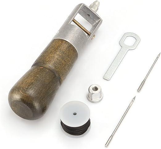 ALLOMN Máquina de Coser de Cuero Herramienta de Cuero Hecho a Mano de DIY Aguja de Coser Kit de Agujas de Coser Tela de Cuero: Amazon.es: Hogar