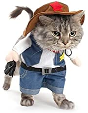 NACOCO Cowboy Dog Costume with Hat Dog Clothes Halloween Costumes for Cat and Small Dog (XS)