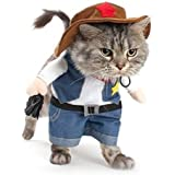 NACOCO Cowboy Dog Costume with Hat Dog Clothes Halloween Costumes for Cat and Small Dog (L)