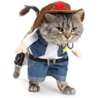 NACOCO Cowboy Dog Costume with Hat Dog Clothes Halloween Costumes for Cat and Small Dog (M)