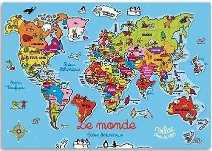 Map Of The World France.Amazon Com Le Monde Magnetique Big Magnetic Puzzle