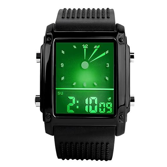 Reloj deportivo de Yahe, para hombre, analógico y digital, cuadrado, impermeable, multifunción, de color negro, color negro: Amazon.es: Relojes