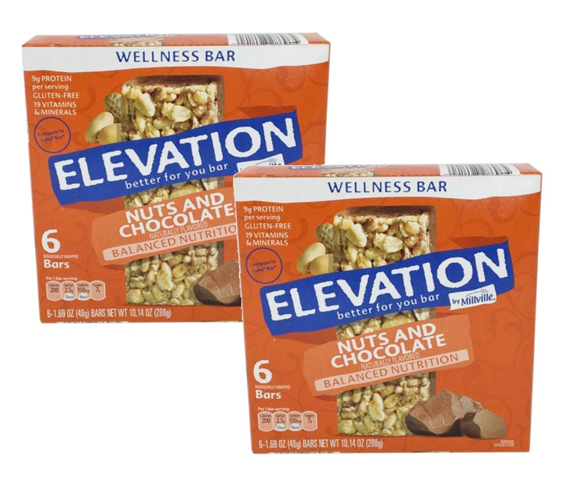 Millville Elevation Better for You Natural Gluten-Free Balanced Nutrition Wellness Nuts & Chocolate Bars - 2 Boxes
