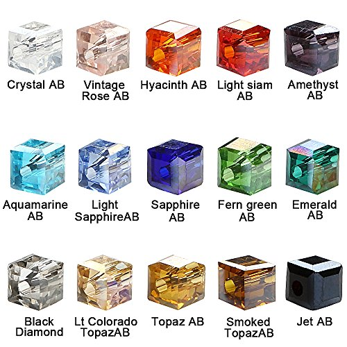 BRCbeads Crystal Glass Beads Finding Spacer Charms 1500pcs Faceted #5601 Cube Shape 4mm Assorted Colors include Plastic Jewelry Container Box Wholesale Mix lot for jewelery -