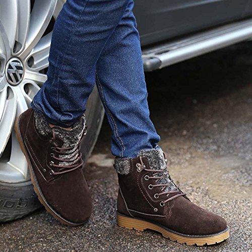 Boots Antiscivolo Up Lavoro Caldo all'aperto top Pelliccia Scarponi Lace Scarpe Stivali da Inverno Stivali Durevole Uomo Stivali Marrone Neve Hishoes Martin High da gvqn6