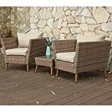 Cheap PHI VILLA Outdoor Gradual Changing Color Rattan Wicker Sofa Armchair and Square Coffee Table Sectional Furniture Set With Cushion and Throw Pillows