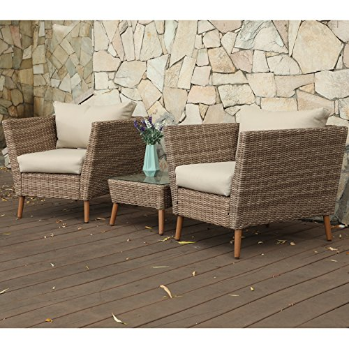 M d Furniture MONTK3PC-GRY Montauk 3-Piece Wicker Scoop Chat Set Cushions Outdoor Furniture, Gray