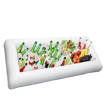 Barra inflable para servir de ensalada y barra de bar con tapón de desagüe. pack de 1 blanco: Amazon.es: Hogar