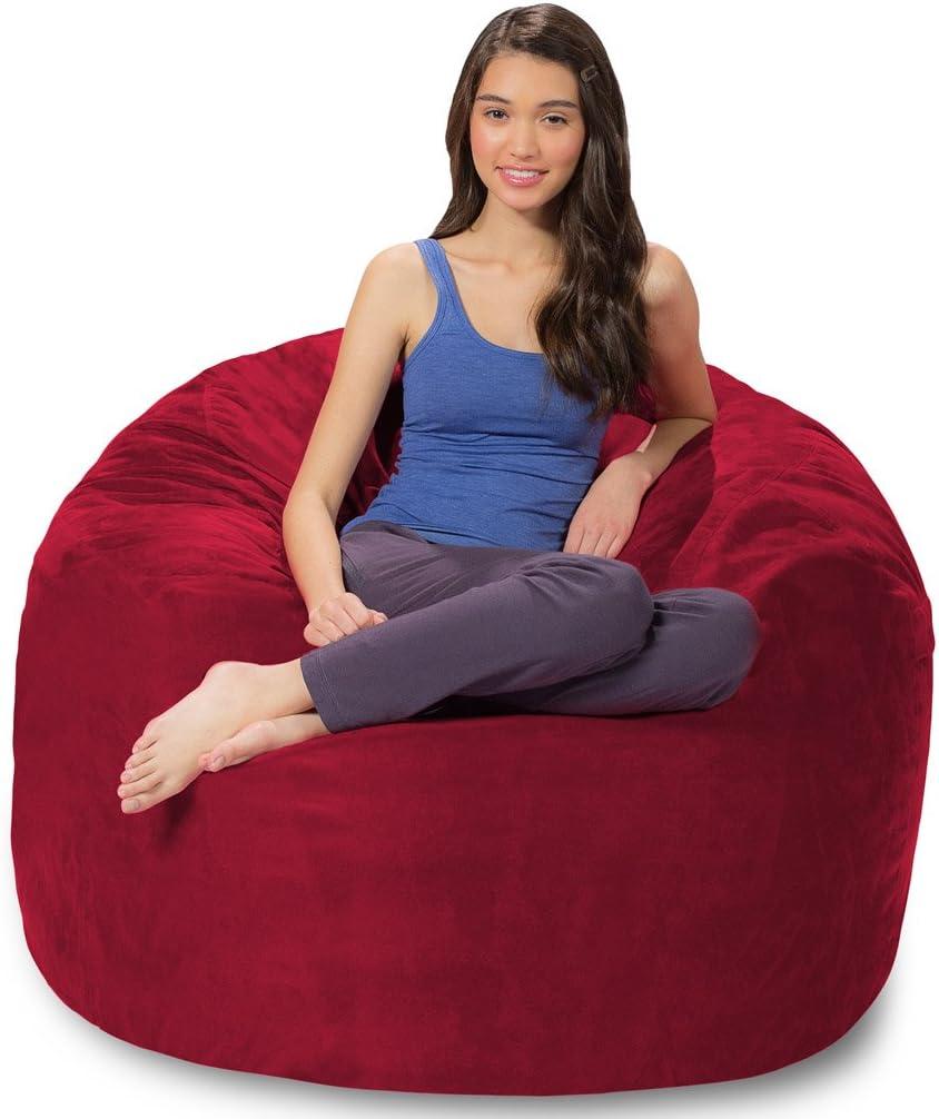 Comfy Sacks 4 ft Memory Foam Bean Bag Chair, Royal Blue Microsuede Microsuede, Cinnabar