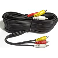 CABLESETC Pure Copper 3 RCA - 3 RCA Composite Audio Video AV Cable TV LCD LED DTH ,10m