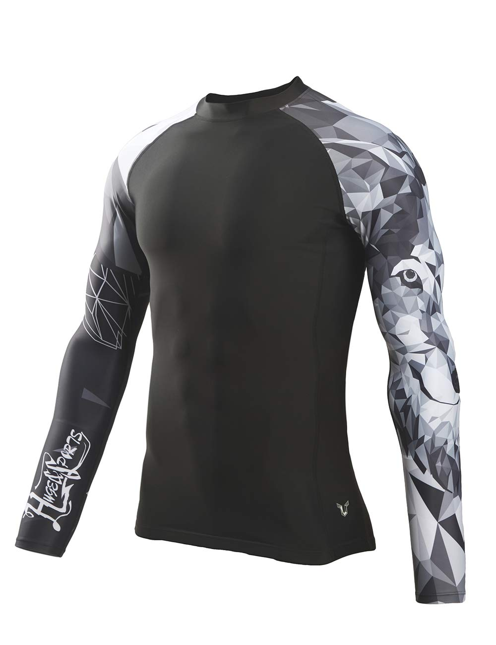 HUGE SPORTS Wildling Series UV Protection Quick Dry Compression Rash Guard(Wolf,2XL) by HUGE SPORTS