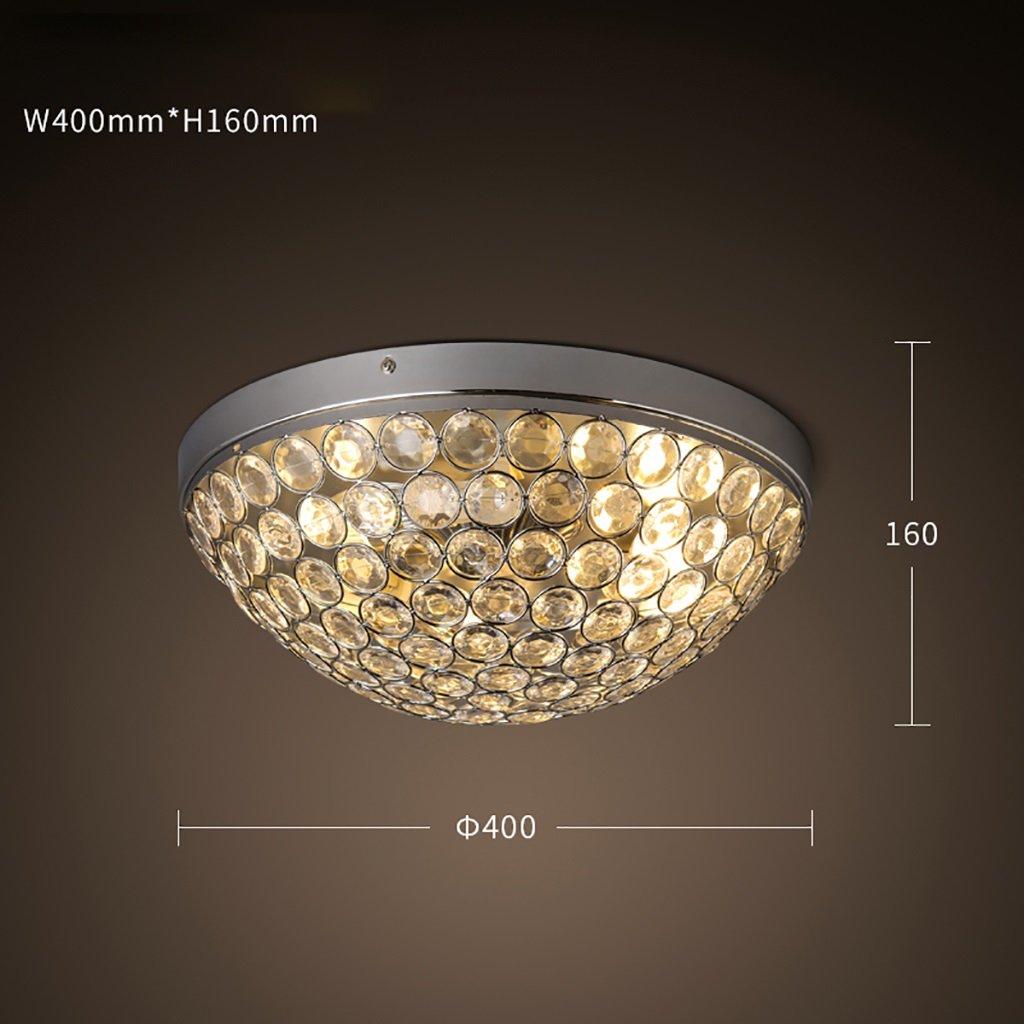 INTASDD Deckenleuchte Retro Eisen Deckenleuchten Europäischen runden Schlafzimmer Lampen Glas Durchmesser 40cm (Farbe   Warmes Licht)