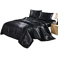 HOMIGOO 2PCS Silk Like Fabric Summer Cool Bedding Set Solid Comforter Cover Twin Black