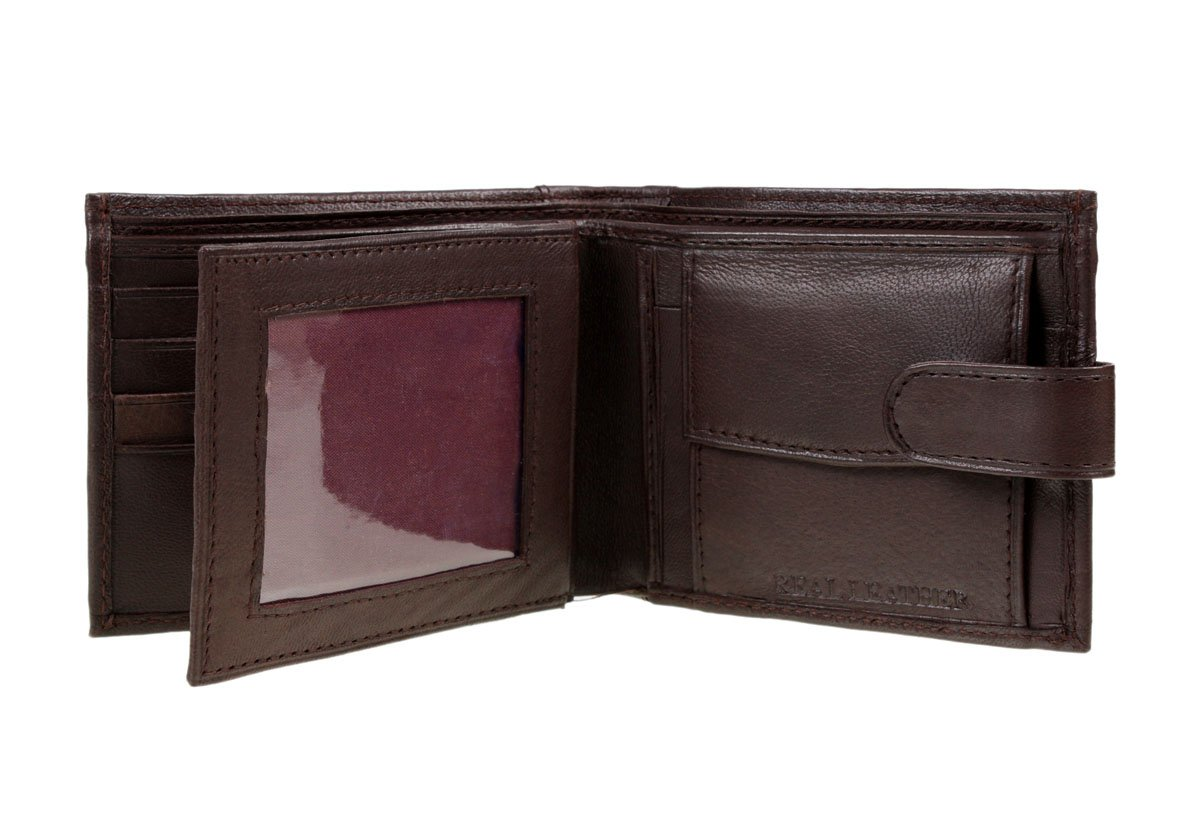 Mens High Quality Luxury Soft Tri Fold BROWN Leather Wallet- 4 designs (#340BROWN)