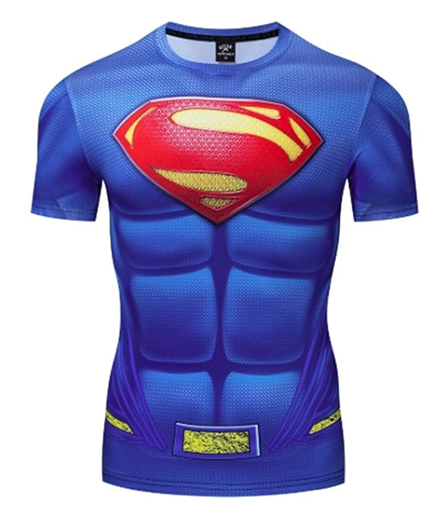 Ampparels Superhero Shirt Compression Sports Shirt Fitness Mens Base Layer
