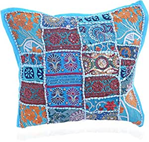 Traditional Design Handcrafted Sequins & Beads Cushion Cover (Blue)
