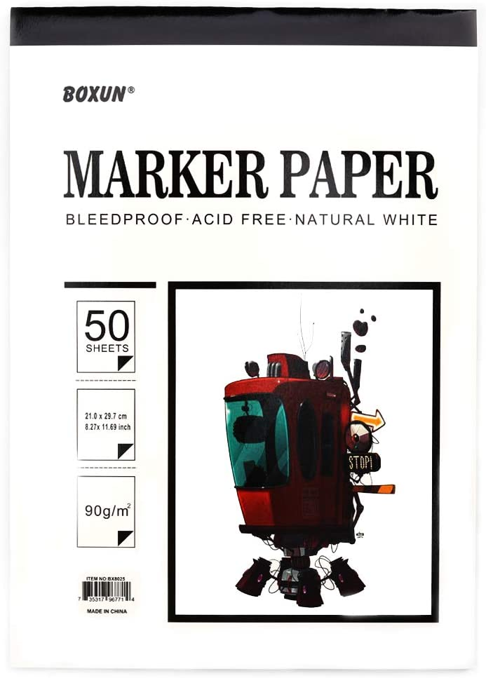Premium 50 Sheets Sketch Marker Paper Pad, Bleedproof Artist Drawing Paper, 9 x 12 Inch: Arts, Crafts & Sewing