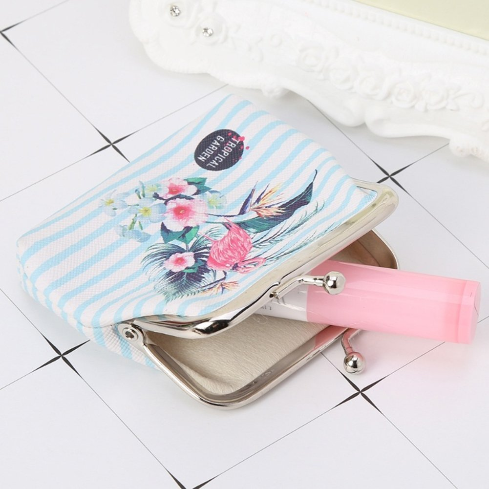 Profusion Circle Flamingo Faux Leather Coin Purse Pouch Clutch Earphone Coin Key Card Cash Storage Case Mini Wallet
