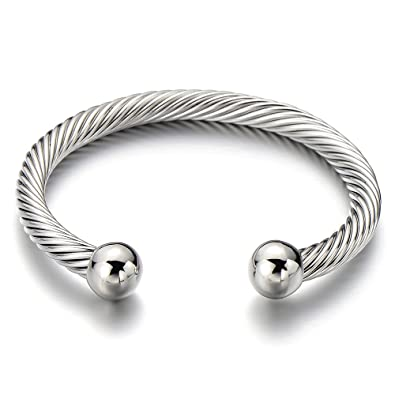 COOLSTEELANDBEYOND Unisex Elastic Adjustable Stainless Steel Twisted Cable Bangle Bracelet for Men Women Silver Color v6gSTBzRJA