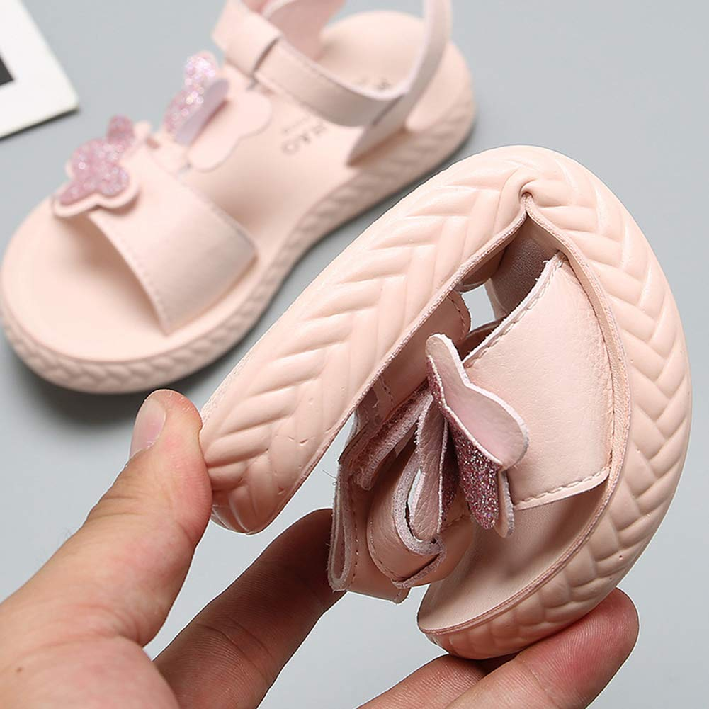 Mobnau Cute Leather Butterflies Summer Kids Sandles Girls Sandals