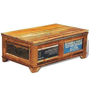vidaXL – Caja de almacenamiento de madera reciclada mesa de café Vintage estilo antiguo
