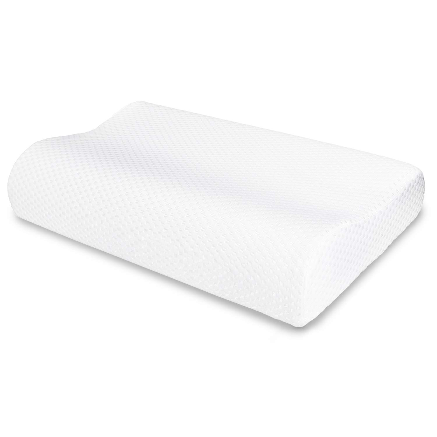 VECELO Memory Foam Contour Pillow, for Side Sleeper-Relieve Neck Pain with Washable Zippered Soft Cover-Standard Size for Adult & Children, White
