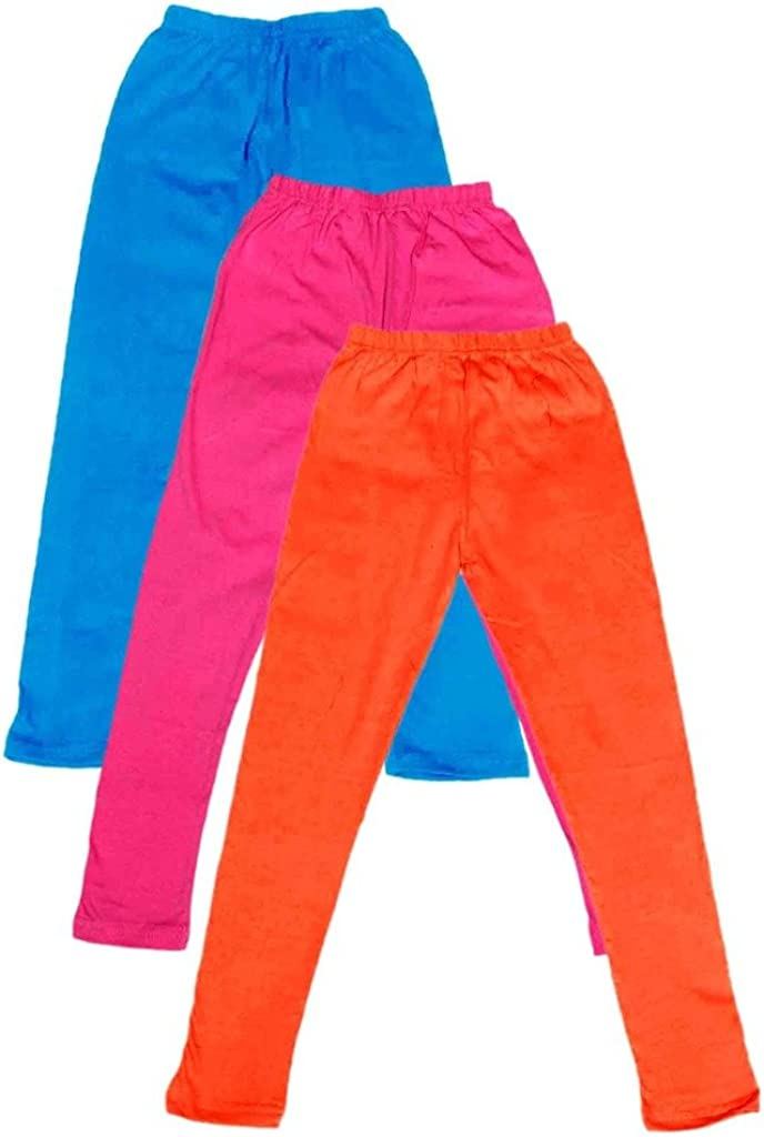 Pack of 3 Indistar Little Girls Cotton Full Ankle Length Solid Leggings -Multiple Colors-3-5 Years