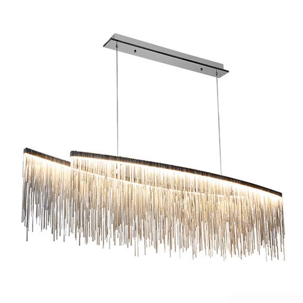 Hyvaluable Moderne LED-Kronleuchter für Wohnzimmer Schlafzimmer Esszimmer Lampen, hängende Lampe Kette Chrom Kronleuchter Beleuchtung Fixturs - Tricolor Licht (Farbe : Silber, größe : 100cm)