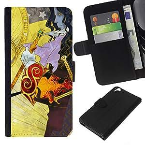 LECELL--Cuero de la tarjeta la carpeta del tirón Smartphone Slots Protección Holder For HTC Desire 820 -- Fantasía Patrón --