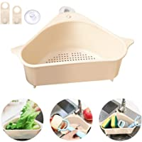 Drain Shelf Sink, Outivity Triangular Sink Basket Storage Rack Sucker, Sink Sponge Holder for Kitchen Bathroom Support Corner 24 * 14.2 * 10cm OCF
