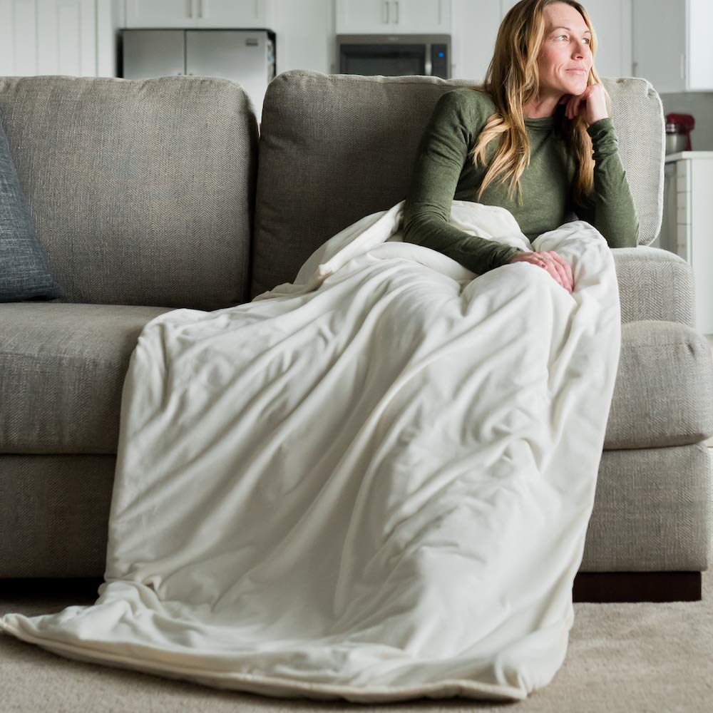GRACED SOFT LUXURIES Duvet Cover for Weighted Blankets 40 x 60 Minky Removable Duvet Cover Blanket Ivory, Medium 40 x 60