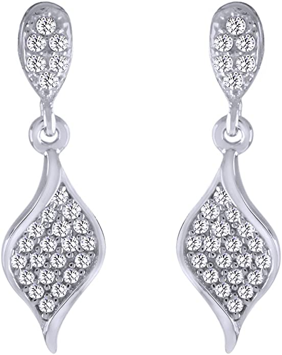 wishrocks Round Cut White Cubic Zirconia Fashion Earrings 925 Sterling Silver