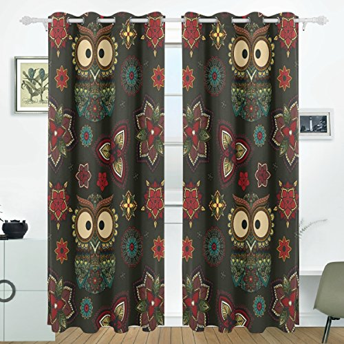 LORVIES Tribal Owl Bird Blackout Curtains with Grommet Top Thermal Insulated Darkening Blind Curtains for Living Room,Bedroom, 55W x 84L Inch,2 Panels