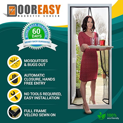 Dooreasy Hands-Free Magnetic Screen Door Polyester Mesh, Full Frame Loop Sewn,Quick Close No Slightest Gap, Fits Door Opening Up to 34