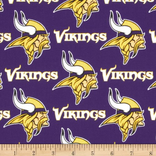- Fabric Traditions 0310917 NFL Cotton Broadcloth Minnesota Vikings Fabric by The Yard