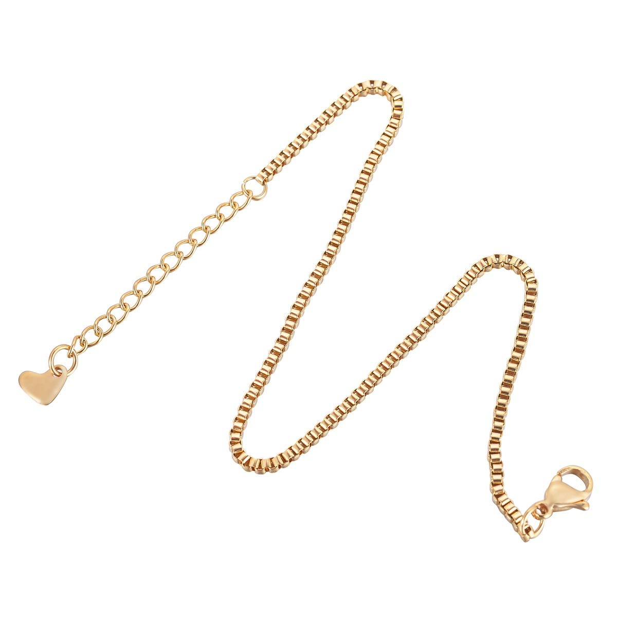 HooAMI Stainless Steel Anklet Box Rolo Chain Ankle Bracelet for Women & Girls,Gold Plated