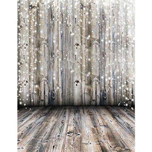 Showyou 3x5ft Light Grey Wood Wall & Floor Photography Backdrop Silk Photography Backdrops Studio Props