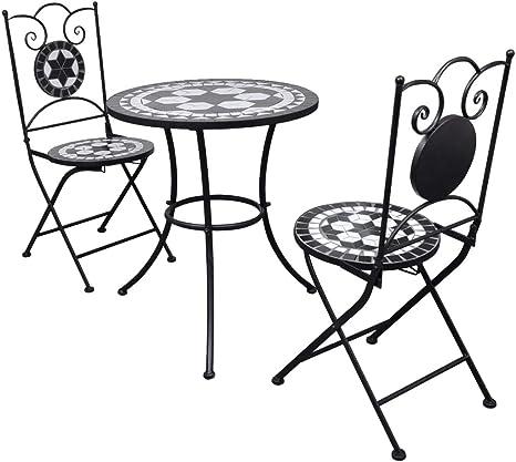 vidaXL Set Mueble Mesa Mosaico 60 cm y 2 sillas jardín Patio Color Negro Blanco: Amazon.es: Jardín