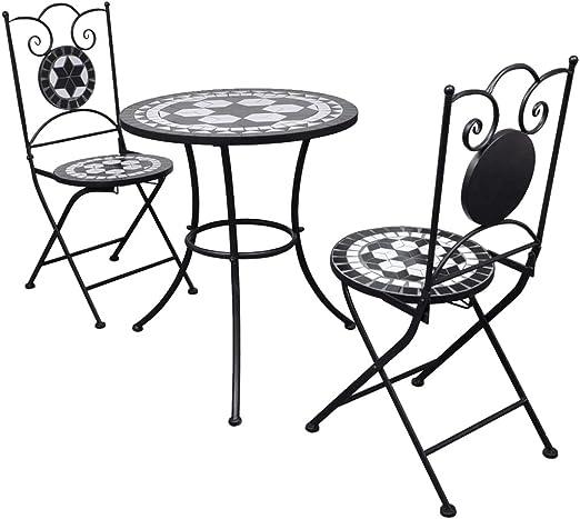 vidaXL Set Mueble Mesa Mosaico 60 cm y 2 sillas jardín Patio Color ...
