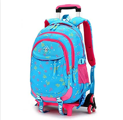 EZON-CH Blue Trolley School Bag For Girls 3Wheels Backpack Children Travel Bag Rolling Luggage