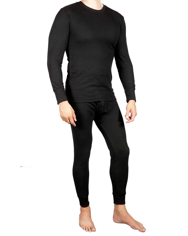 2 X Black Full Set Men Thermal Underwear Long Sleeve Shirt Long Johns Trouser