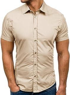 Mens Dress Shirts Pure Button Splicing Pattern Casual Lapel Short Sleeve Shirt