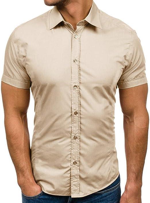 Overdose Camisas Hombre uní Color Slim Fit Blanca Manga Corta ...