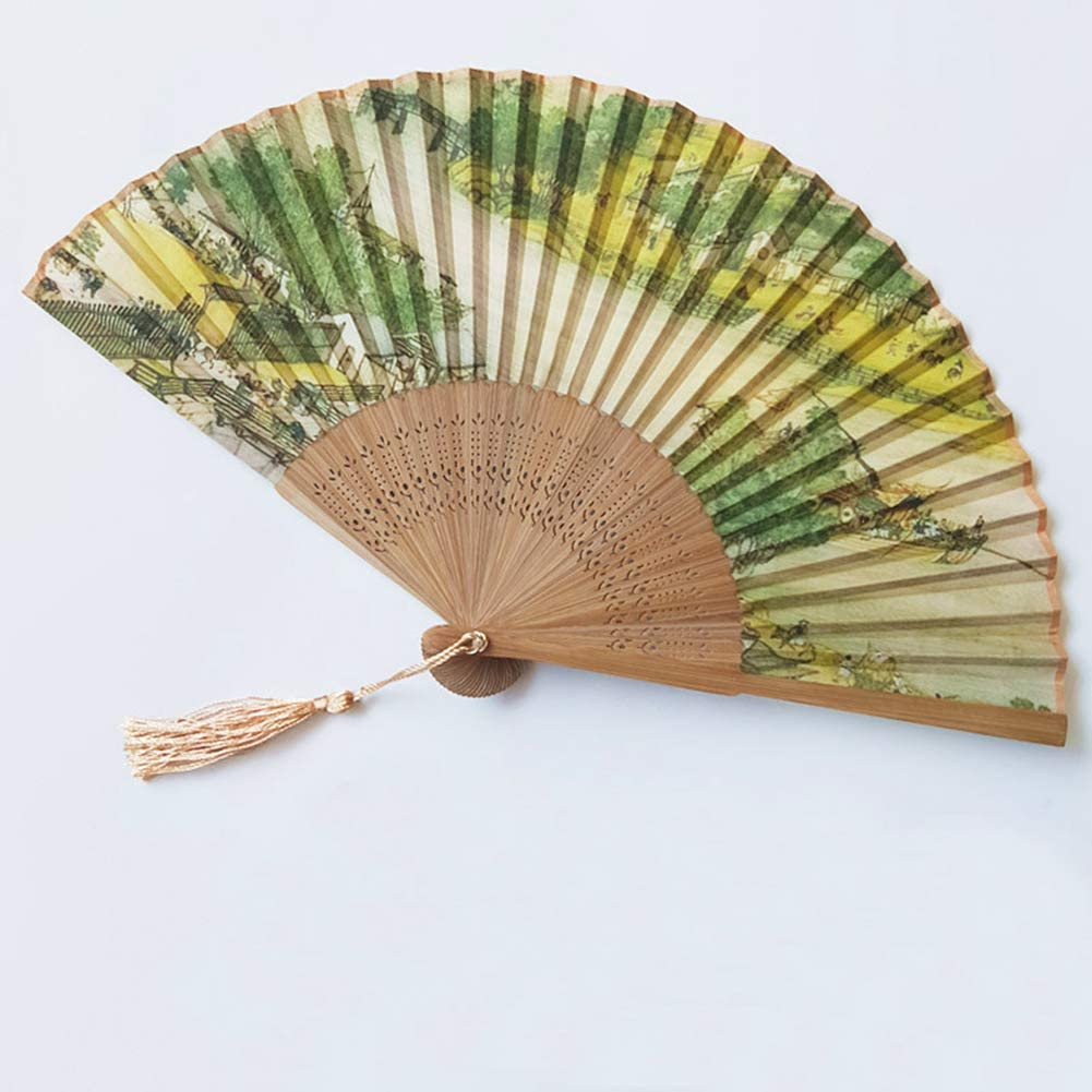 Hand Held Oriental Chinese Green Flower Silk Bamboo Wedding Party Decor Fan