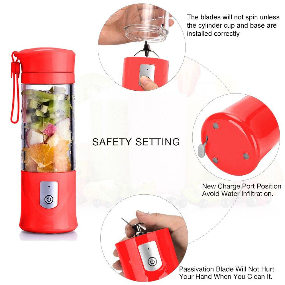 Batidora de frutas portátil y recargable con USB, minilicuadora ...